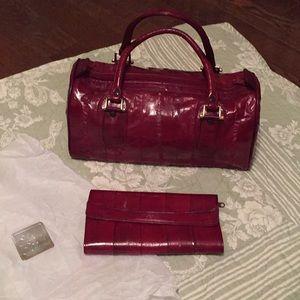 70's style EEL SKIN BAG & Wallet set